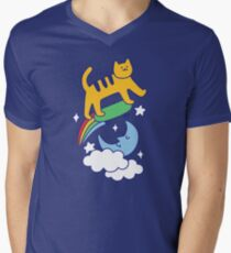 Cat Flying On A Skateboard V-Neck T-Shirt
