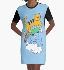 Cat Flying On A Skateboard Graphic T-Shirt Dress