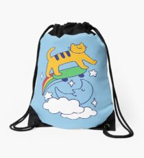 Cat Flying On A Skateboard Drawstring Bag