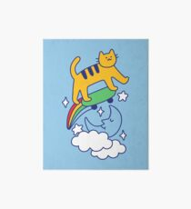 Cat Flying On A Skateboard Art Board Print
