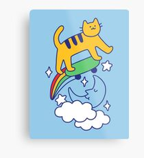 Cat Flying On A Skateboard Metal Print