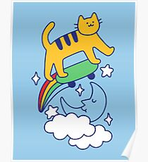Cat Flying On A Skateboard Poster