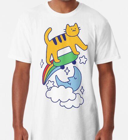 Cat Flying On A Skateboard Long T-Shirt