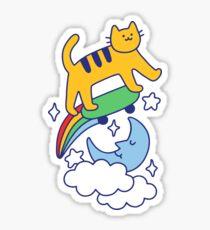 Cat Flying On A Skateboard Sticker