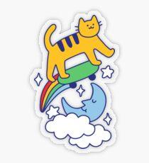 Cat Flying On A Skateboard Transparent Sticker