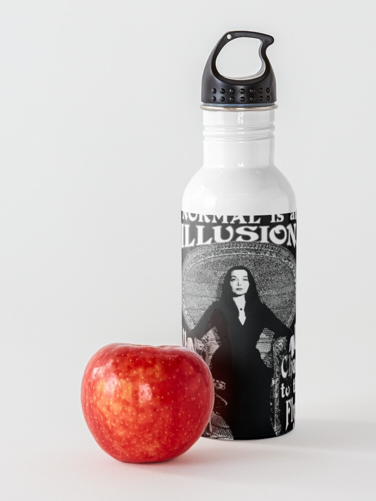 """Alternate view of Morticia Addams-""""Normal Is An Illusion..."""" Water Bottle"""