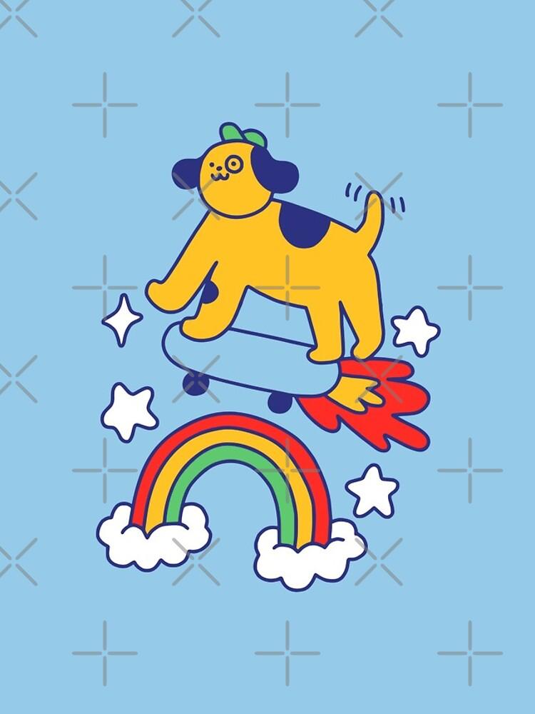 Dog Flying On A Skateboard by obinsun