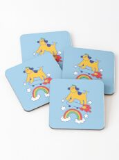 Dog Flying On A Skateboard Coasters