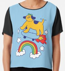 Dog Flying On A Skateboard Chiffon Top