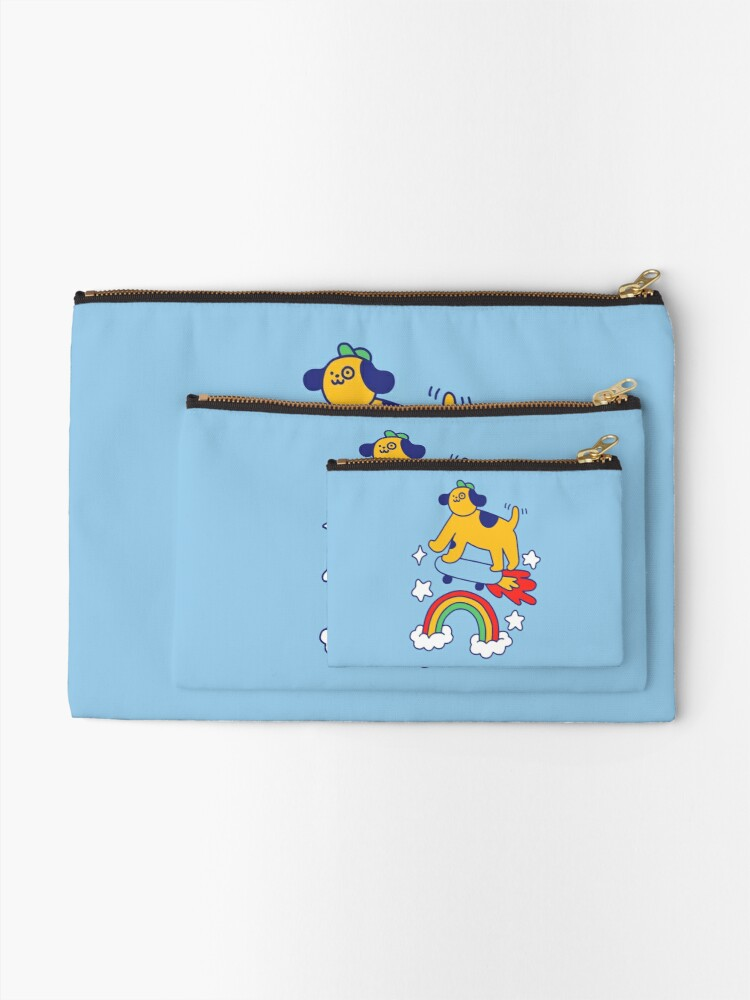 Alternate view of Dog Flying On A Skateboard Zipper Pouch