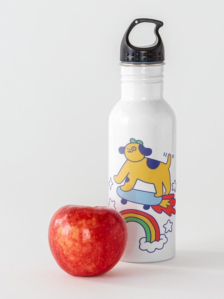 Alternate view of Dog Flying On A Skateboard Water Bottle