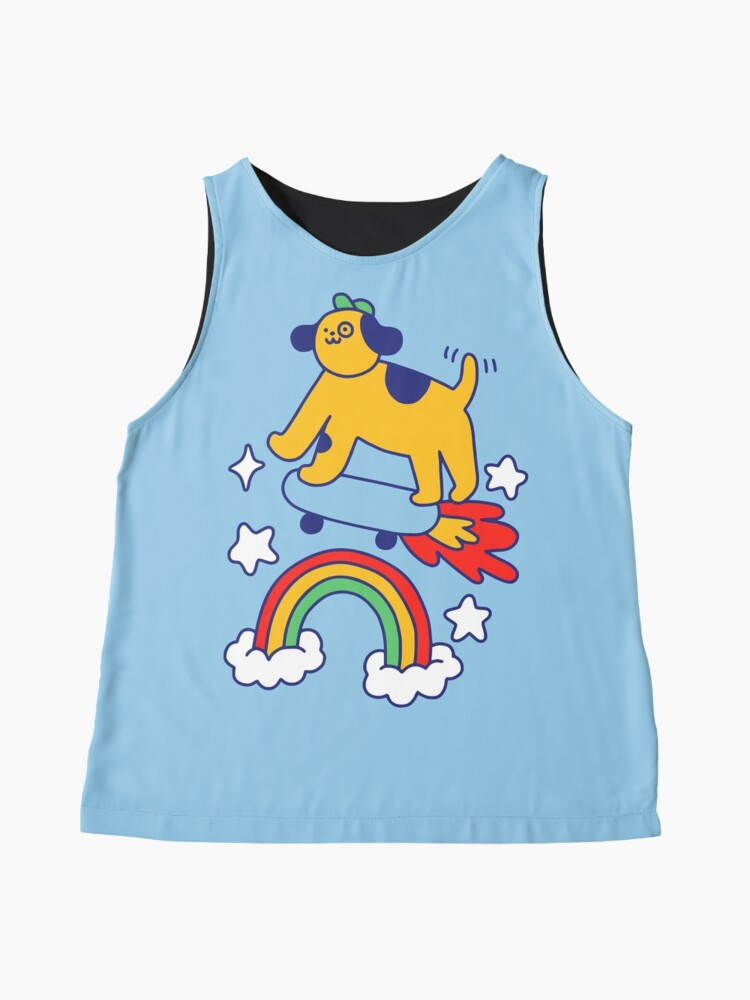Alternate view of Dog Flying On A Skateboard Sleeveless Top