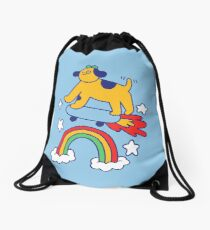 Dog Flying On A Skateboard Drawstring Bag