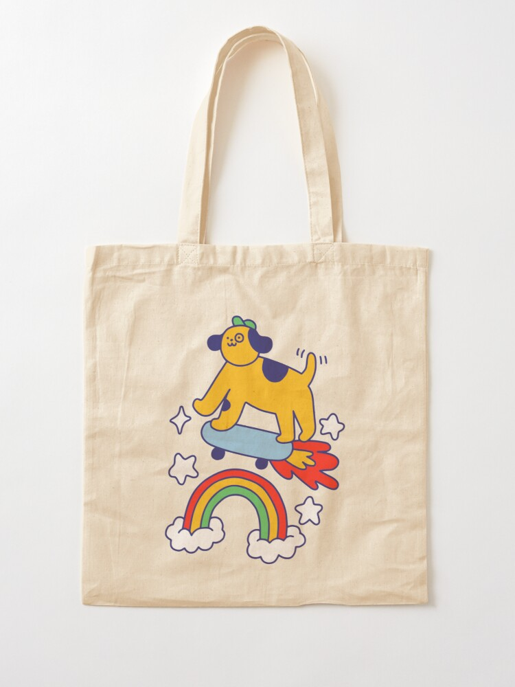 Alternate view of Dog Flying On A Skateboard Tote Bag