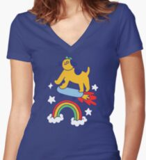 Dog Flying On A Skateboard Fitted V-Neck T-Shirt