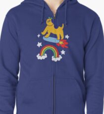 Dog Flying On A Skateboard Zipped Hoodie