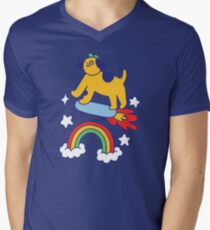 Dog Flying On A Skateboard V-Neck T-Shirt
