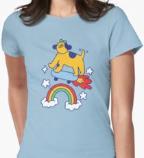 Dog Flying On A Skateboard Fitted T-Shirt