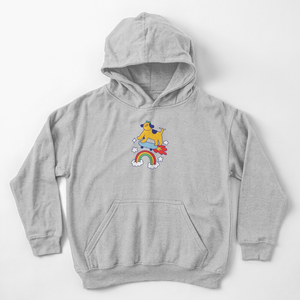 Dog Flying On A Skateboard Kids Pullover Hoodie