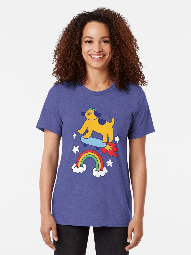 Alternate view of Dog Flying On A Skateboard Tri-blend T-Shirt