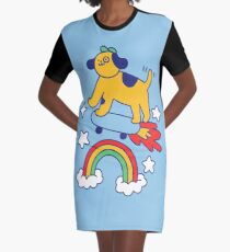 Dog Flying On A Skateboard Graphic T-Shirt Dress