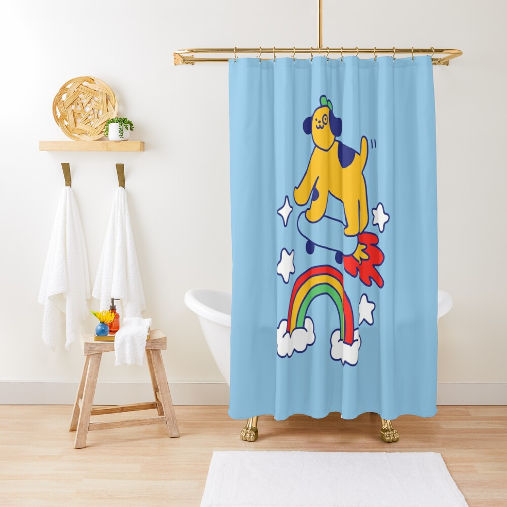 Dog Flying On A Skateboard Shower Curtain