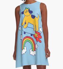Dog Flying On A Skateboard A-Line Dress