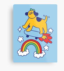 Dog Flying On A Skateboard Metal Print