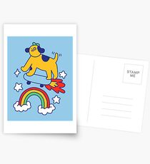 Dog Flying On A Skateboard Postcards