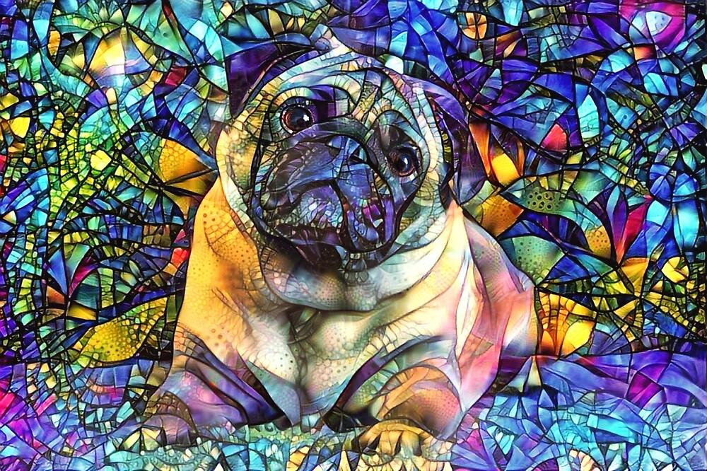 Buntglas-psychedelischer Mops von Peggy Collins