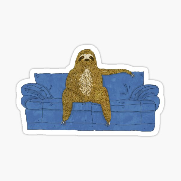 Sloth Sitting On A Couch Sticker