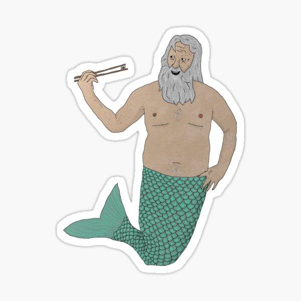 Merman Eating Sushi Sticker