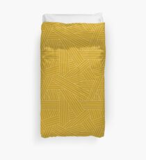 Crossing Lines in Mustard Yellow Duvet Cover
