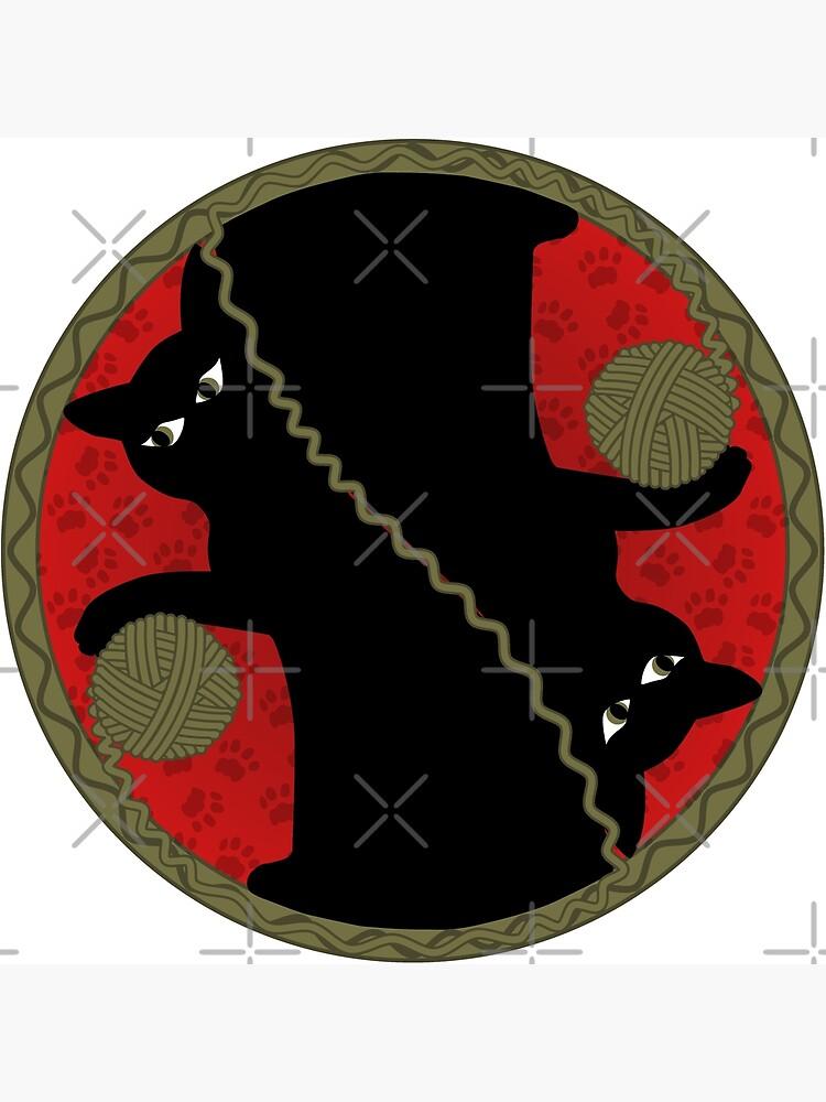Playful Black Cat with Yarn Ball Design by kbmassdesign