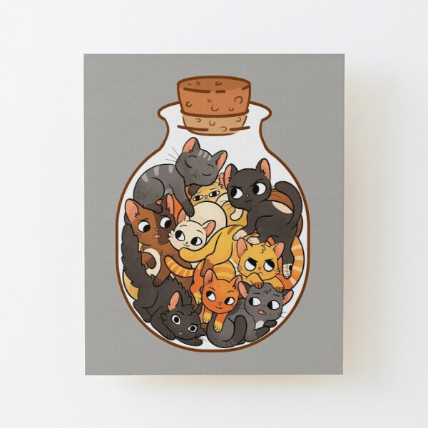Bottle of Cats Wood Mounted Print