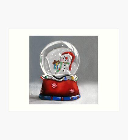 Snow globe - christmas painting Art Print