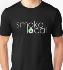 Smoke Local Weed Logo Green Marijuana Leaf White Text T-Shirt