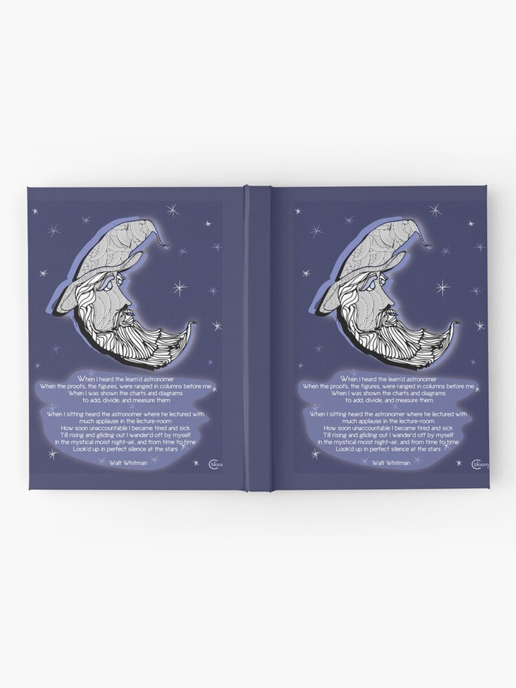 Alternate view of Walt Whitman Moon Portrait  with Poem  When I Heard the Learnd Astronomer Hardcover Journal