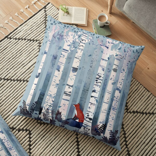 The Birches (in Blue) Floor Pillow
