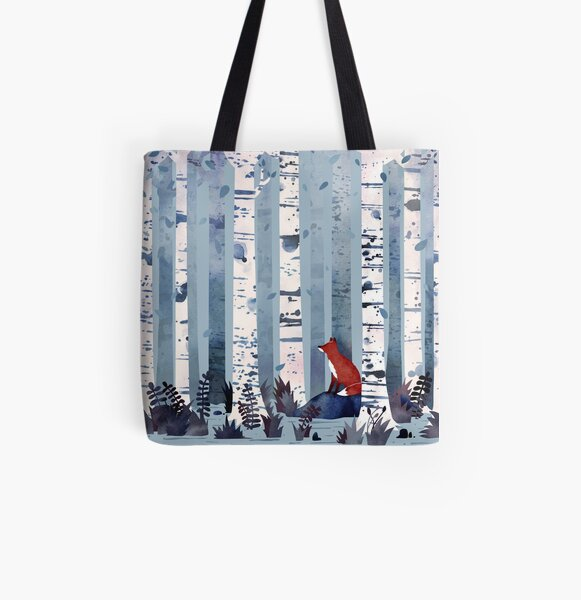 The Birches (in Blue) All Over Print Tote Bag