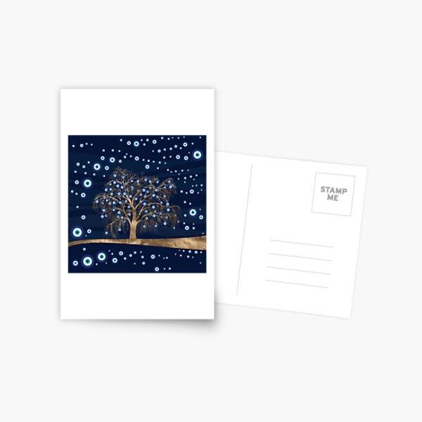 Nazar Charm Tree - Gold on Dark Blue Postcard