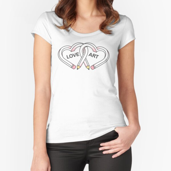 Love Art pink pencils Fitted Scoop T-Shirt