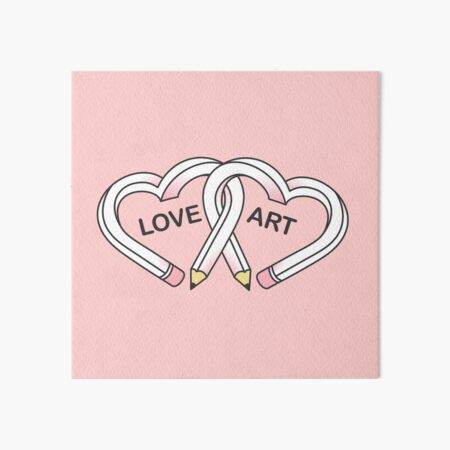 Love Art pink pencils Art Board Print