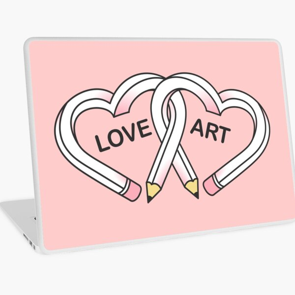 Love Art pink pencils Laptop Skin