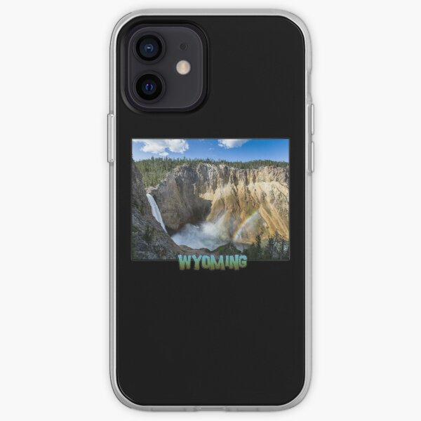 Wyoming State Outline (Lower Yellowstone Falls) iPhone Soft Case