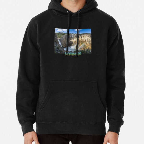 Wyoming State Outline (Lower Yellowstone Falls) Pullover Hoodie