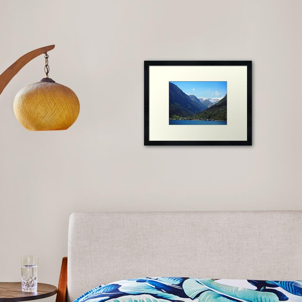lake, mountain, glacier: Norway Framed Art Print