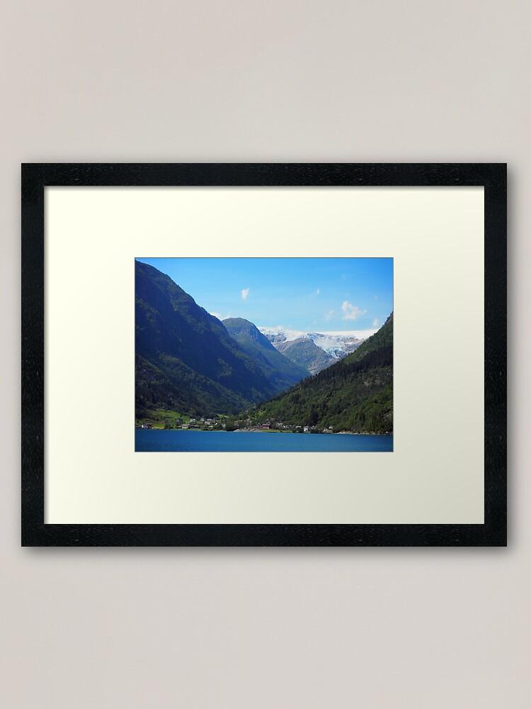 Alternate view of lake, mountain, glacier: Norway Framed Art Print