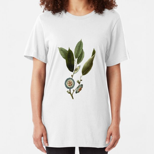 Nostalgic Flower Illustration Slim Fit T-Shirt