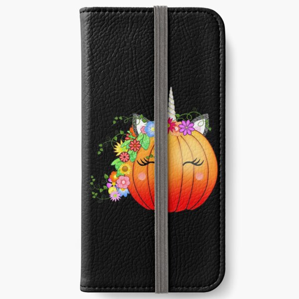 Kawaii Unicorn Pumpkin after hours (Black Background) iPhone Wallet